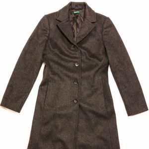 Women's Wool Trench Coat-peacoat